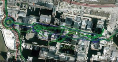 GPS против GNSS, Лондон, Canary Wharf