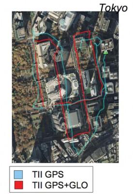 Только GPS (голубой) против мульти-GNSS (красный), Токио.