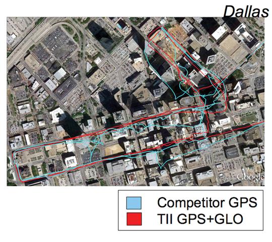 Только GPS (голубой, приемник конкурента-производителя) в сравнении с GNSS (красный), Даллас.